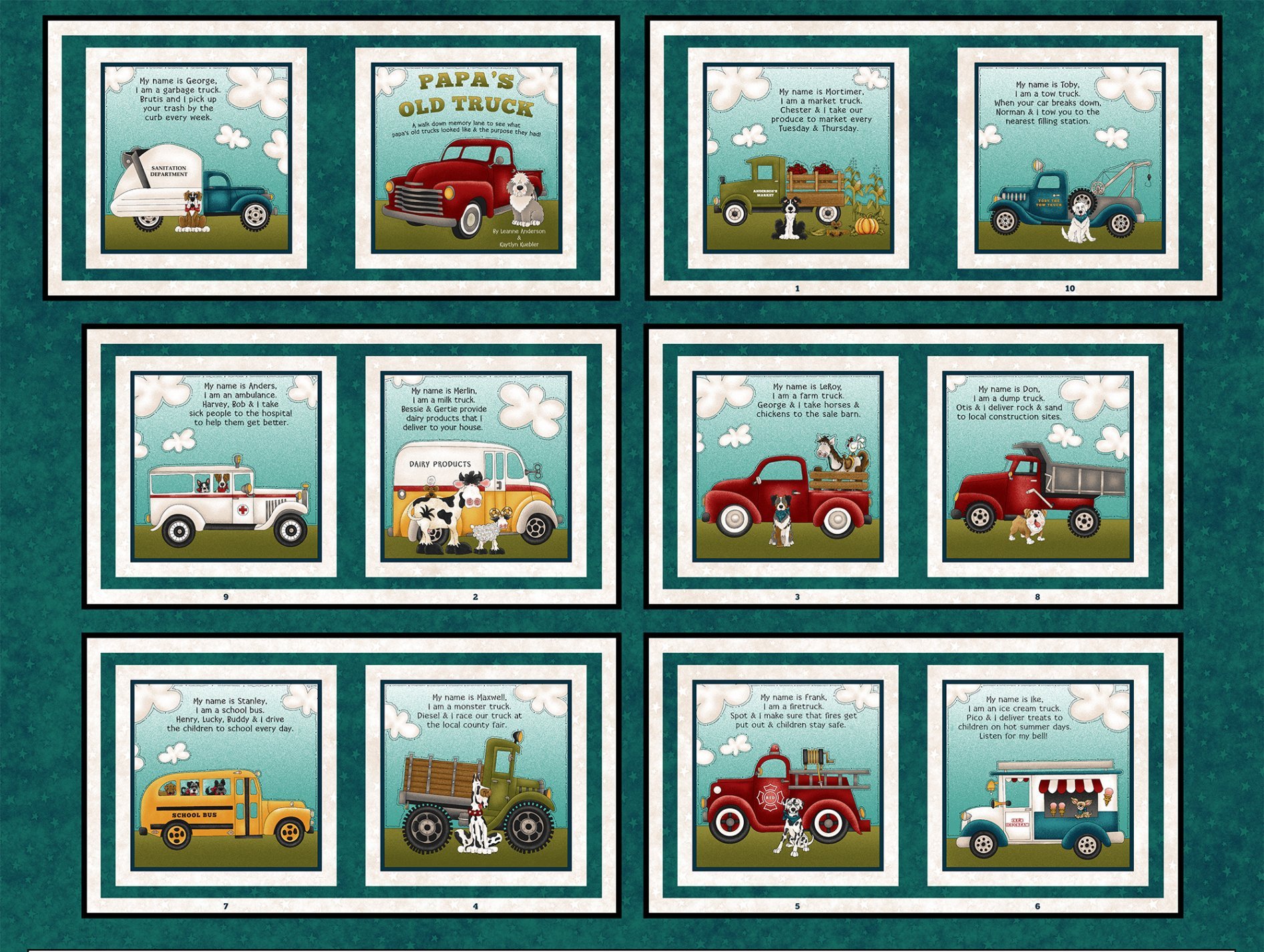Papa's Old Truck Teal Book Panel 9162-77