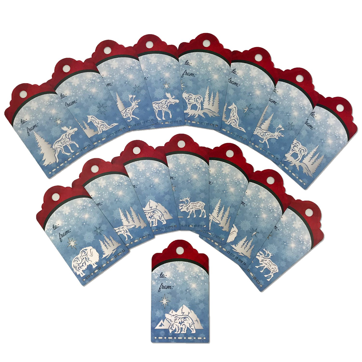 Arctic Holiday Gift Tag Set Red