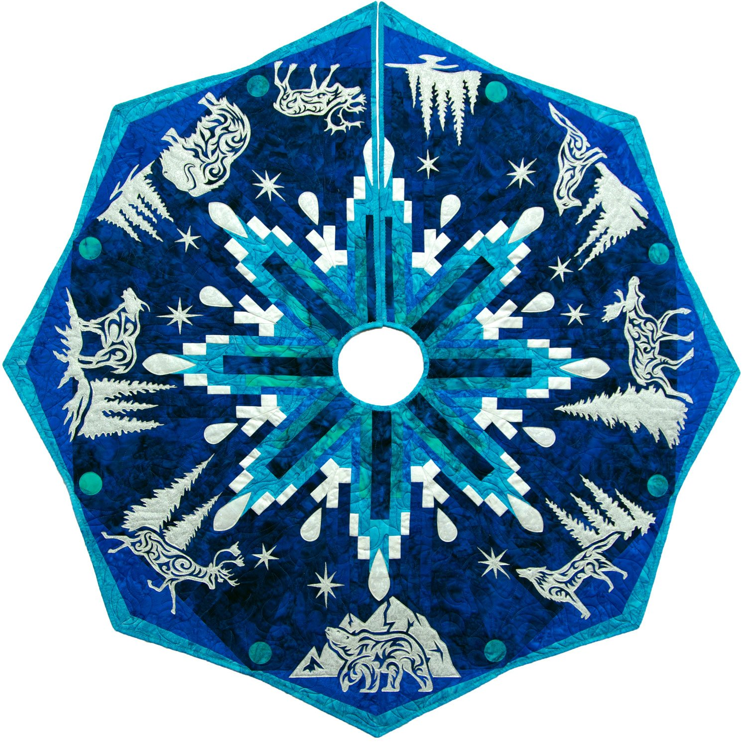 Arctic Holiday Tree Skirt Laser Cut  Kit Blue