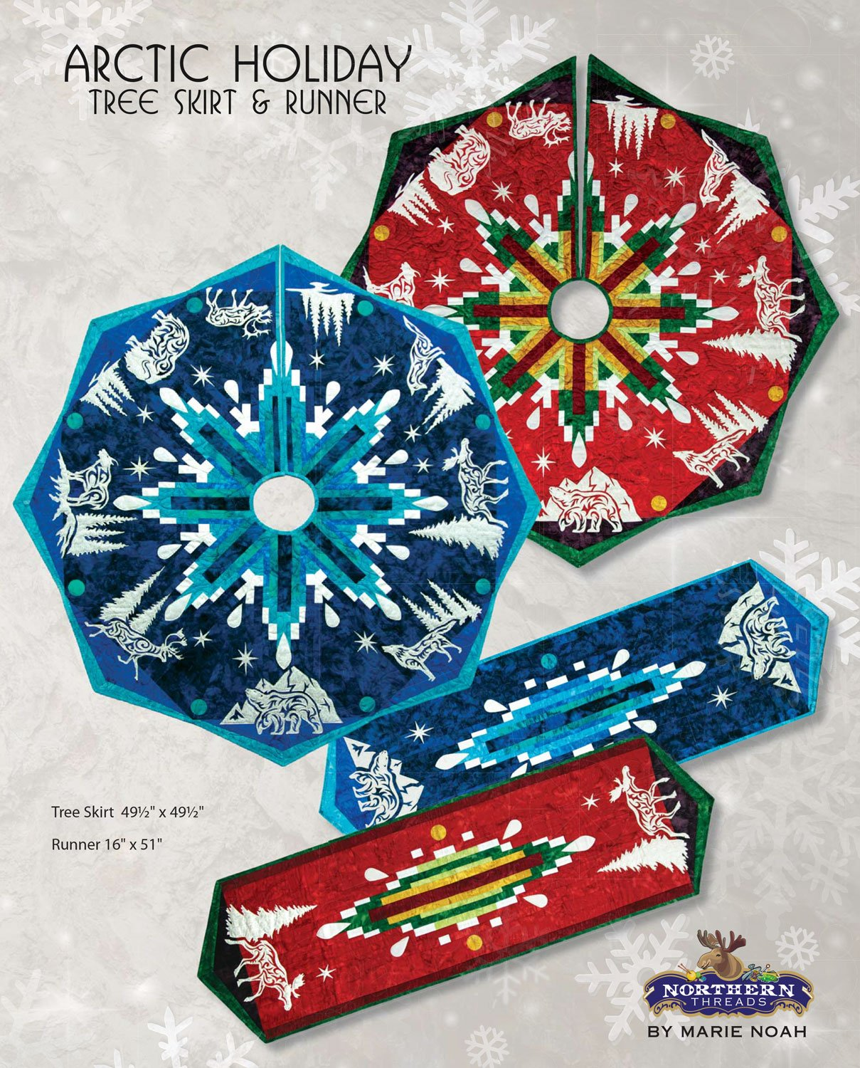 Arctic Holiday Tree Skirt and Runner Pattern