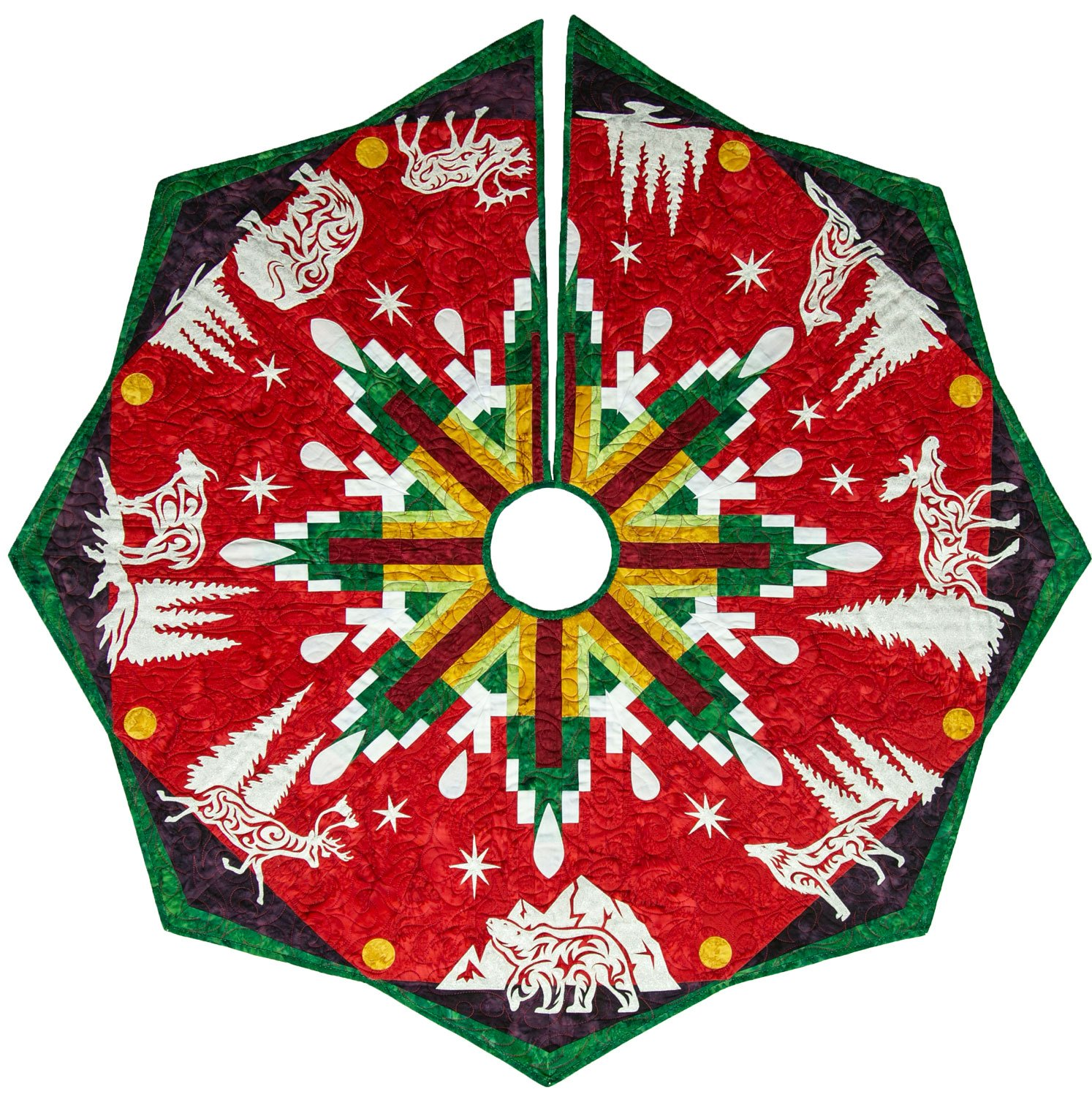 Arctic Holiday Tree Skirt Laser Cut  Kit Red