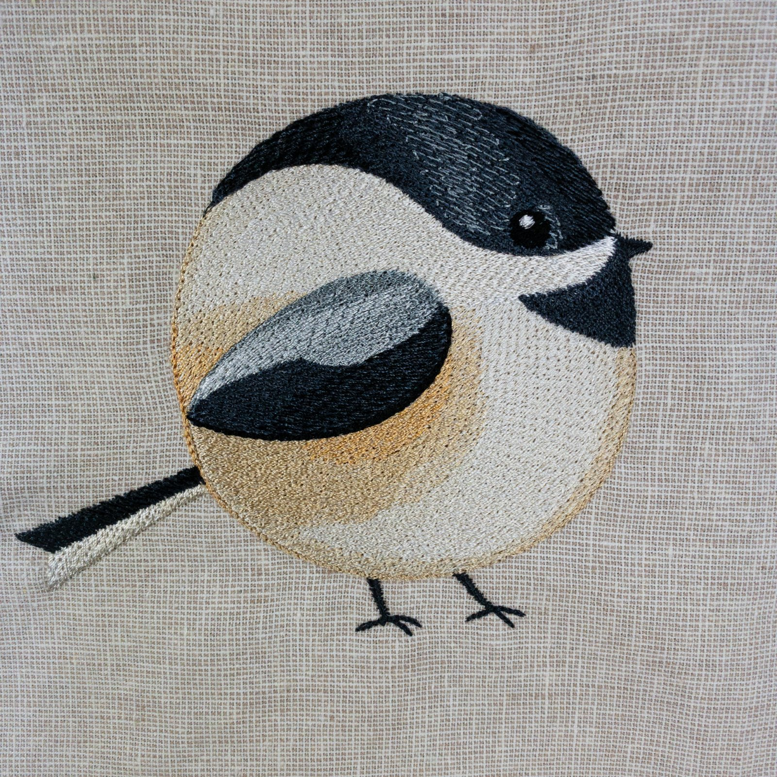 Roly-Poly Chickadee Embroidered Panel