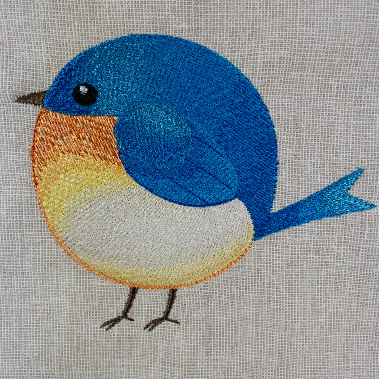Roly-Poly Bluebird Embroidered Panel