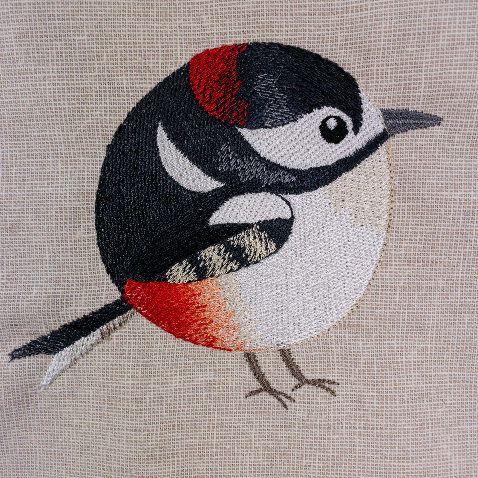 Roly-Poly Woodpecker Embroidered Panel
