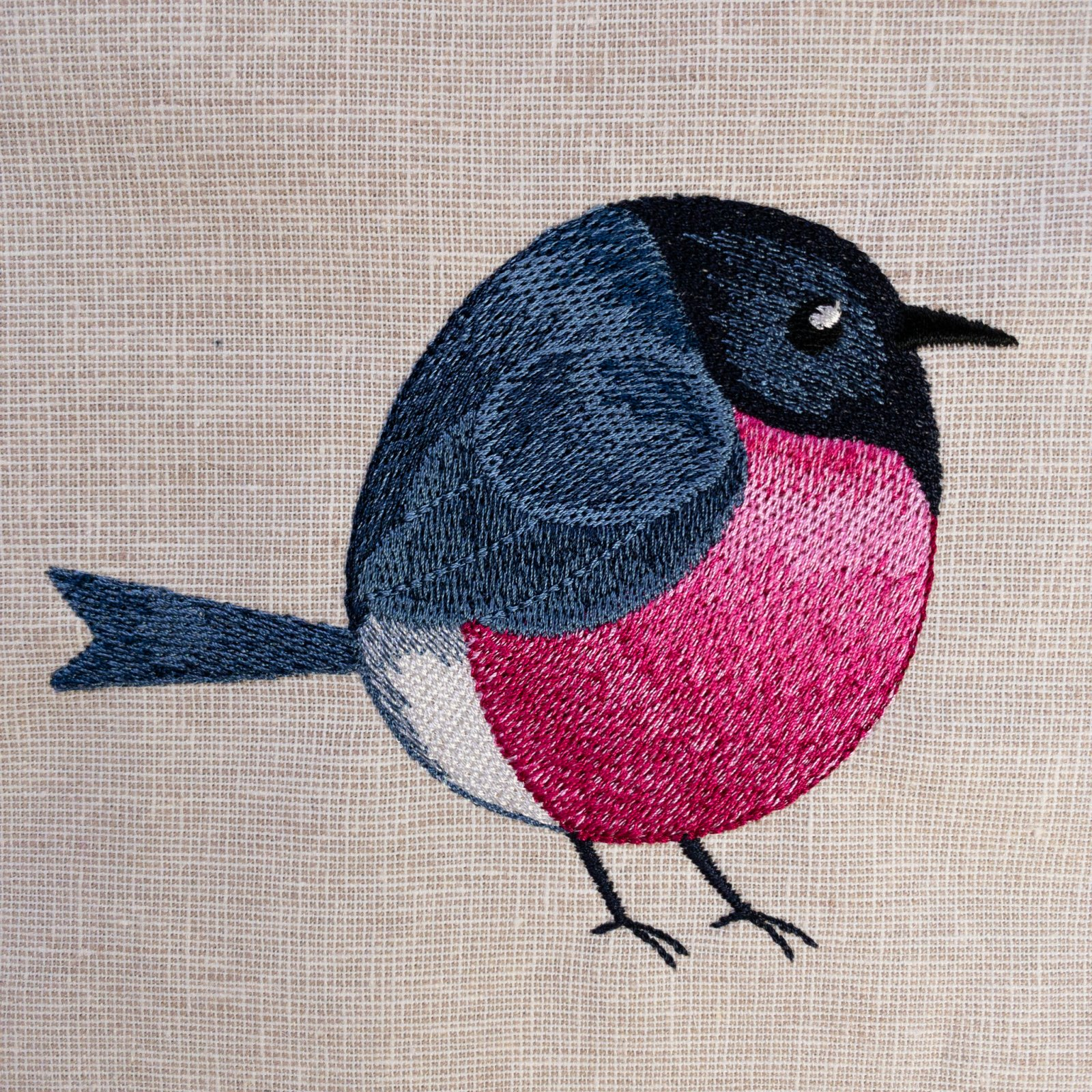 Roly-Poly  Pink Robin Embroidered Panel
