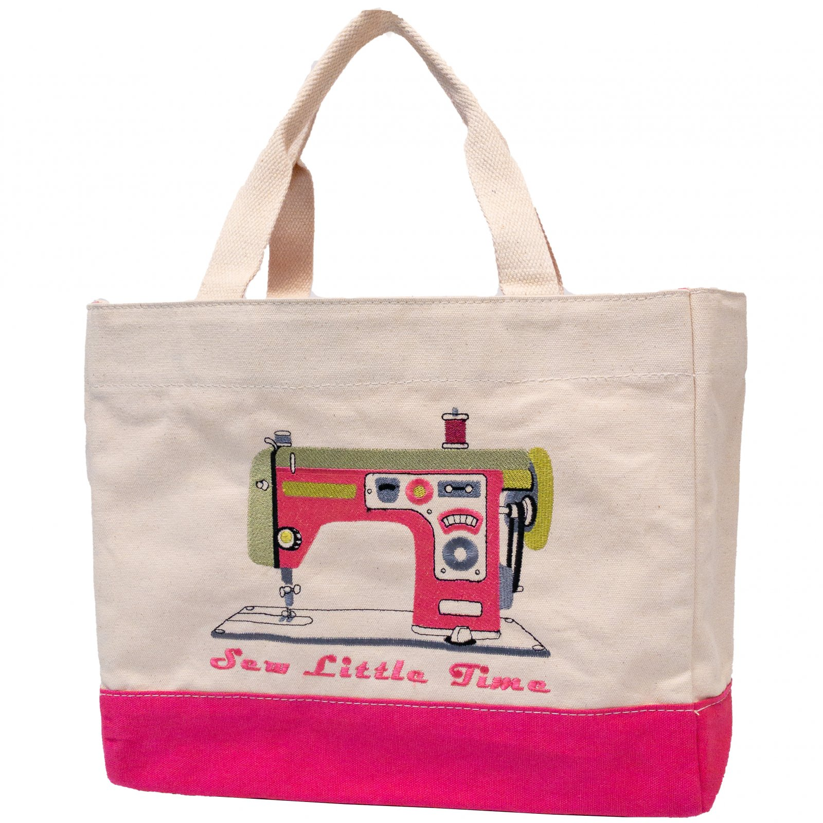 Embroidered Canvas Tote Retro Machine Pink
