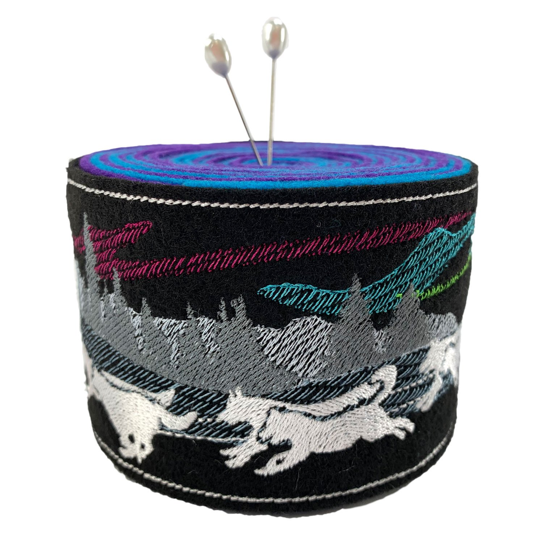 Embroidered Felt Pincushion Aurora Run