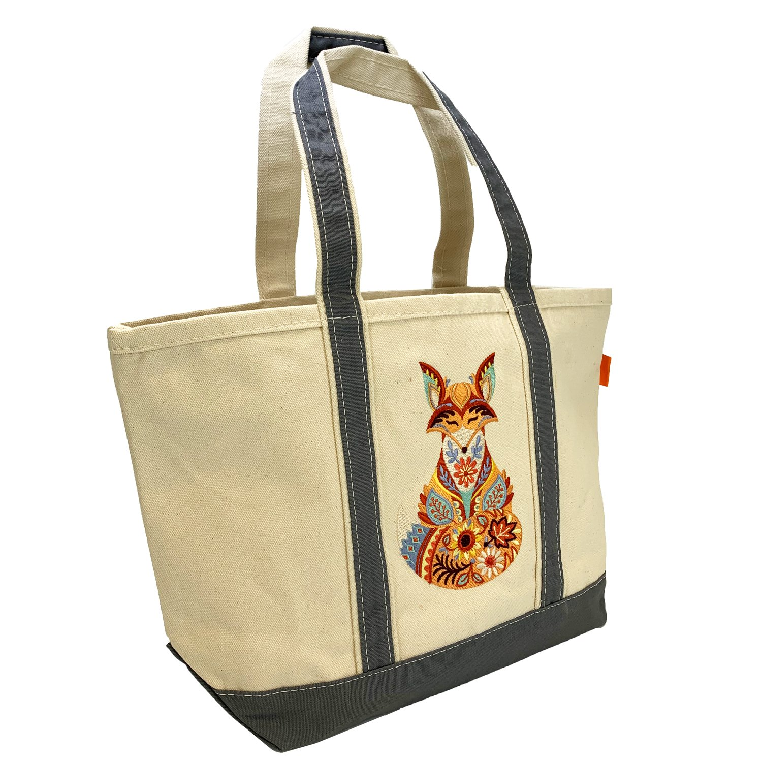 Embroidered Canvas Tote Autumn Fox