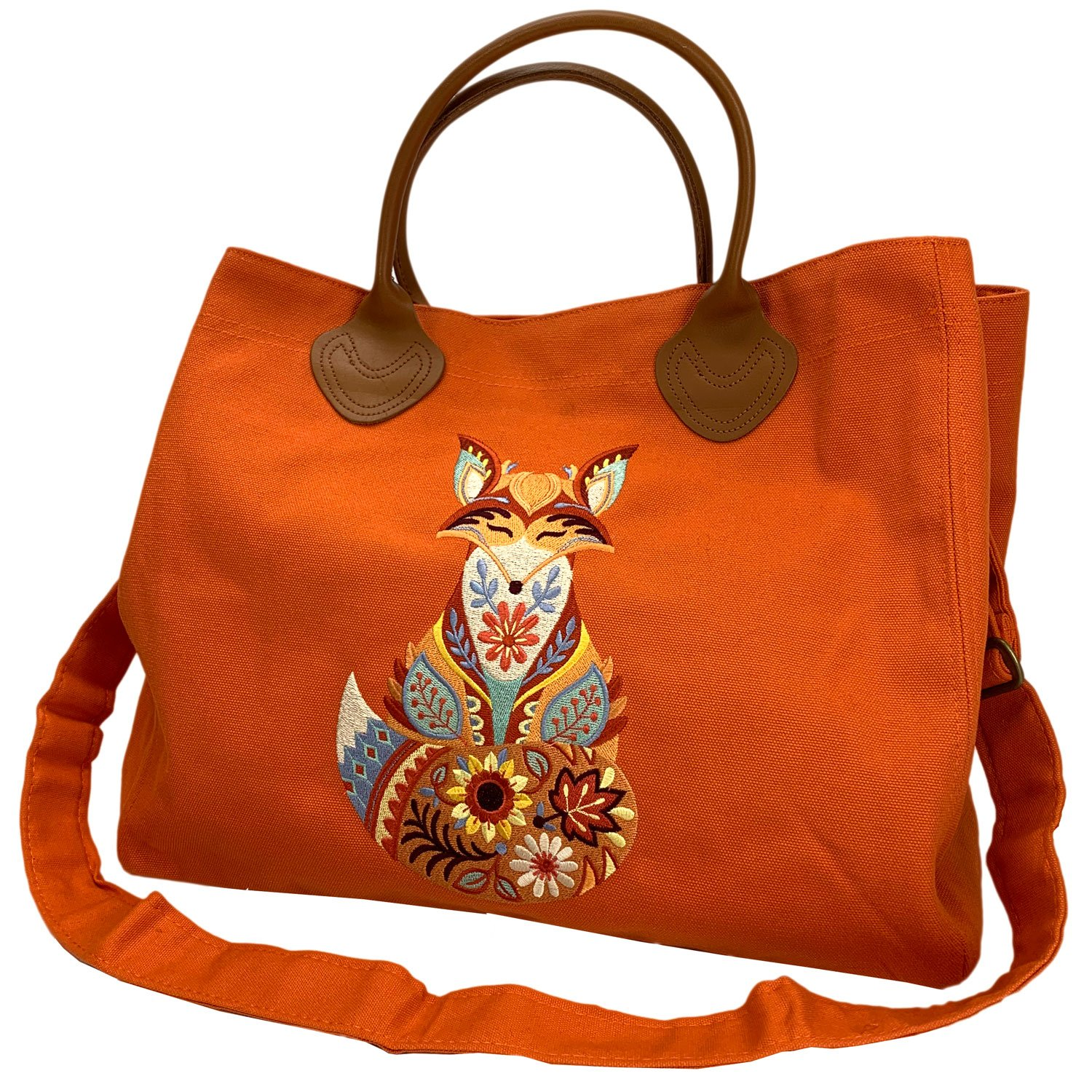Embroidered Canvas Cargo Tote Orange Autumn Fox