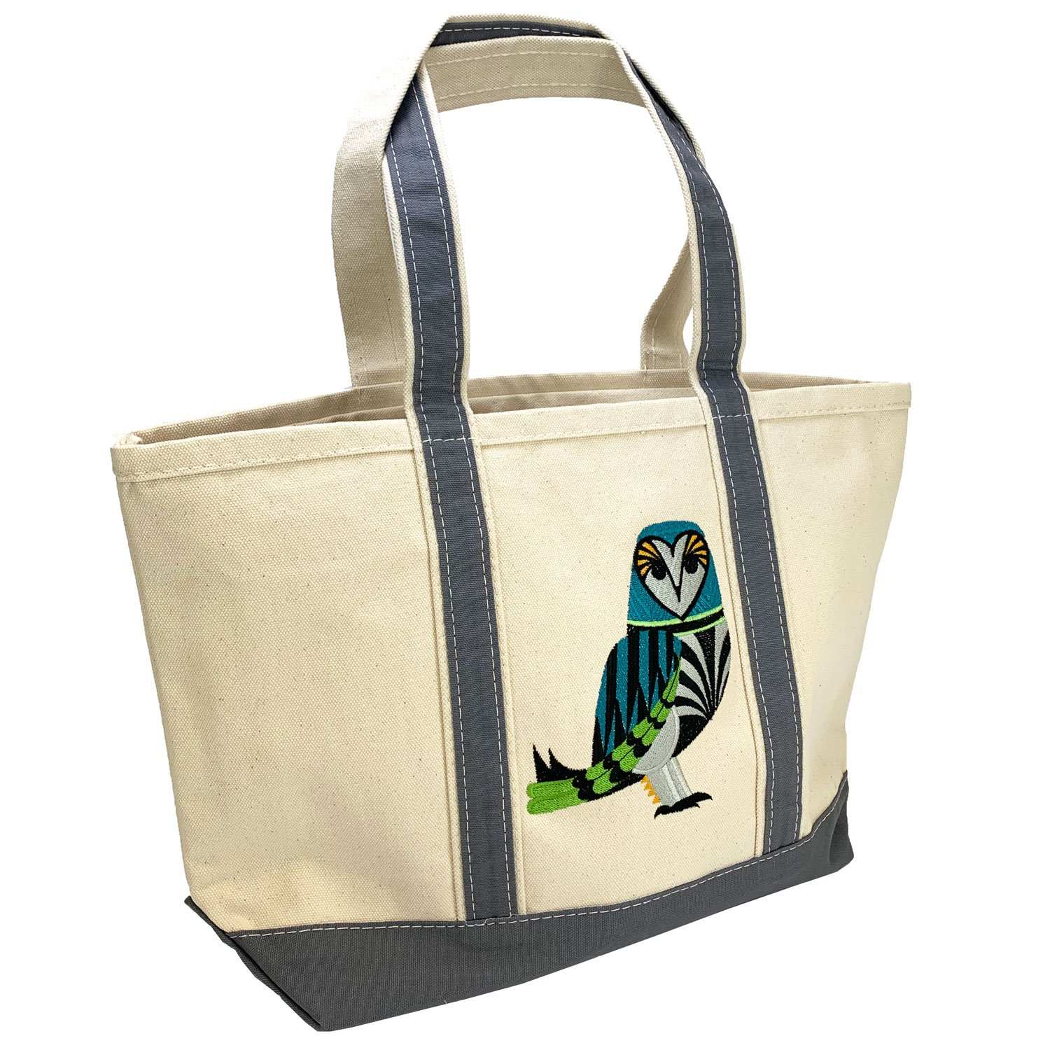 Embroidered Canvas Tote Barn Owl