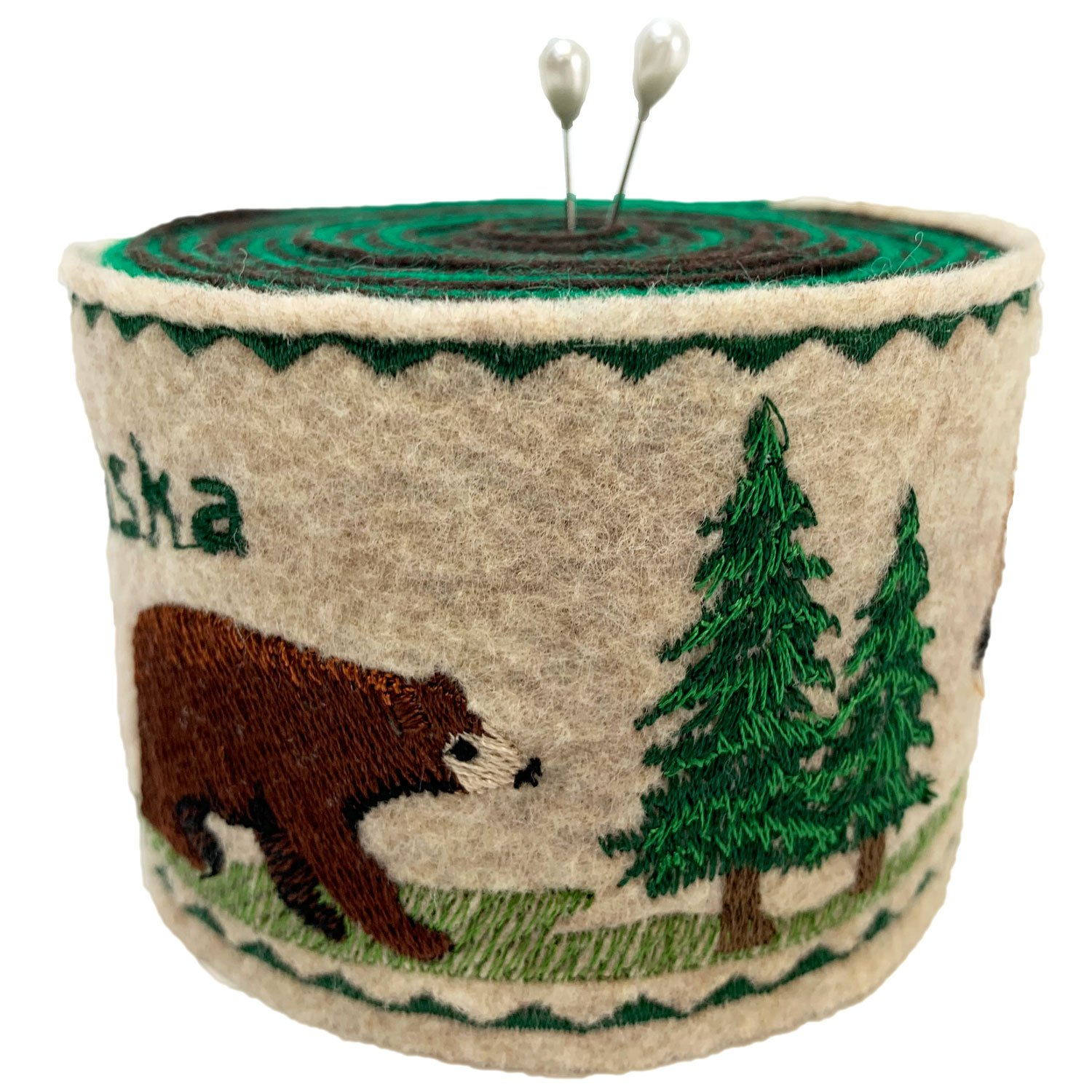Embroidered Felt Pincushion Bear and Moose