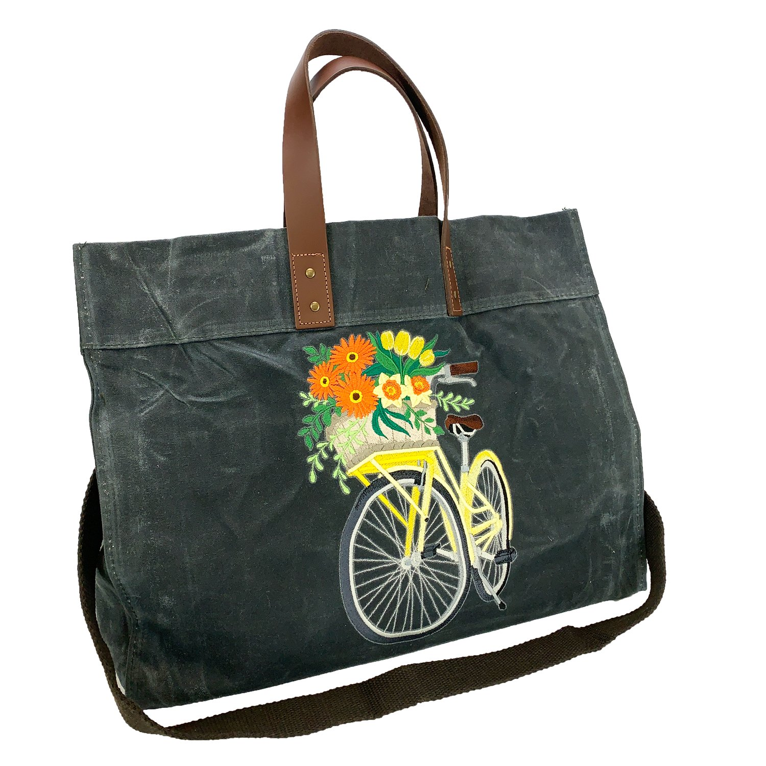 Embroidered Waxed Canvas Utility Tote Slate Bicycle