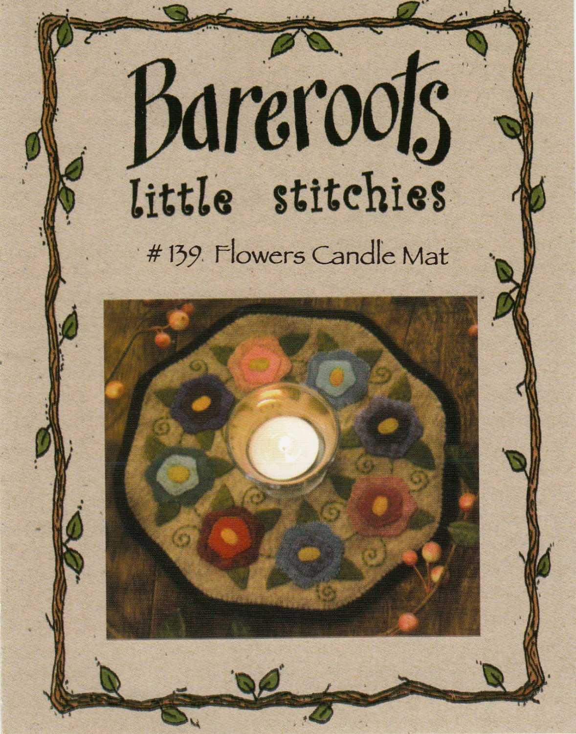 Bareroots Little Stitchies - Flowers Candle Mat Kit With Pattern