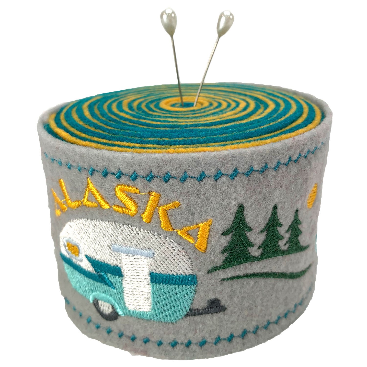 Embroidered Felt Pincushion Camper Alaska