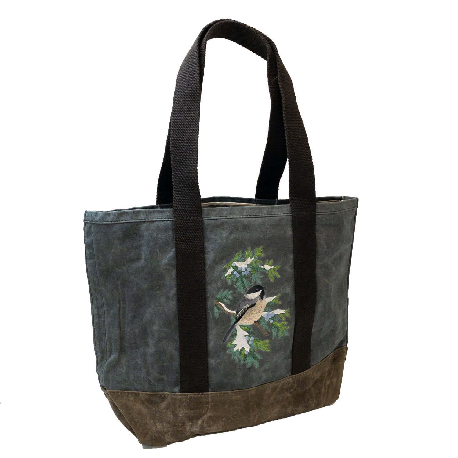 Embroidered Waxed Canvas Tote Chickadee