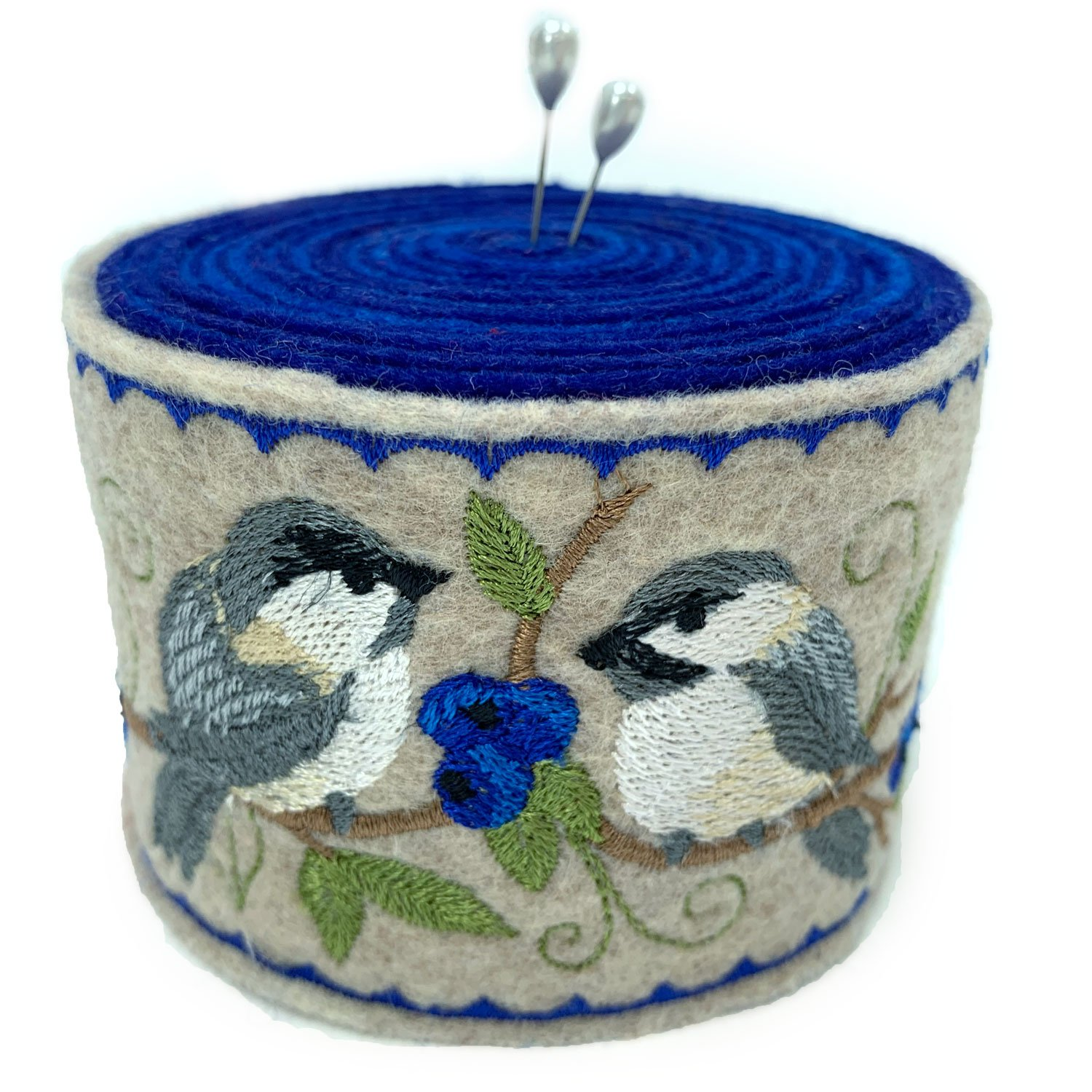 Embroidered Felt Pincushion Chickadees