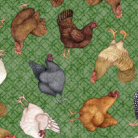 Greener Pastures Chickens on green