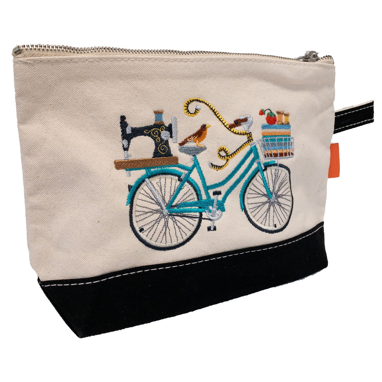 Embroidered Zip Pouch Black Crafting Bicycle