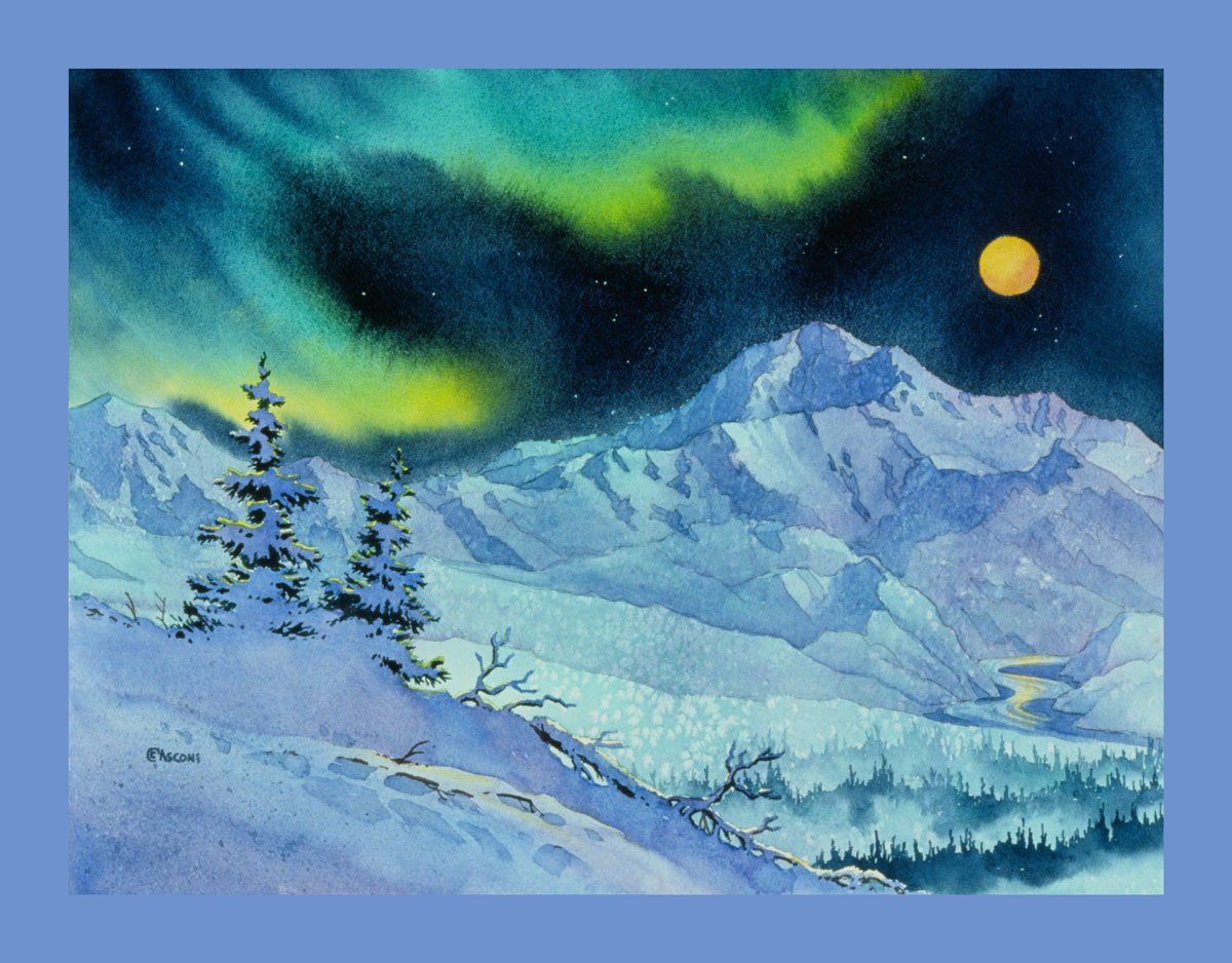 Denali Night Fabric Panel by Teresa Ascone