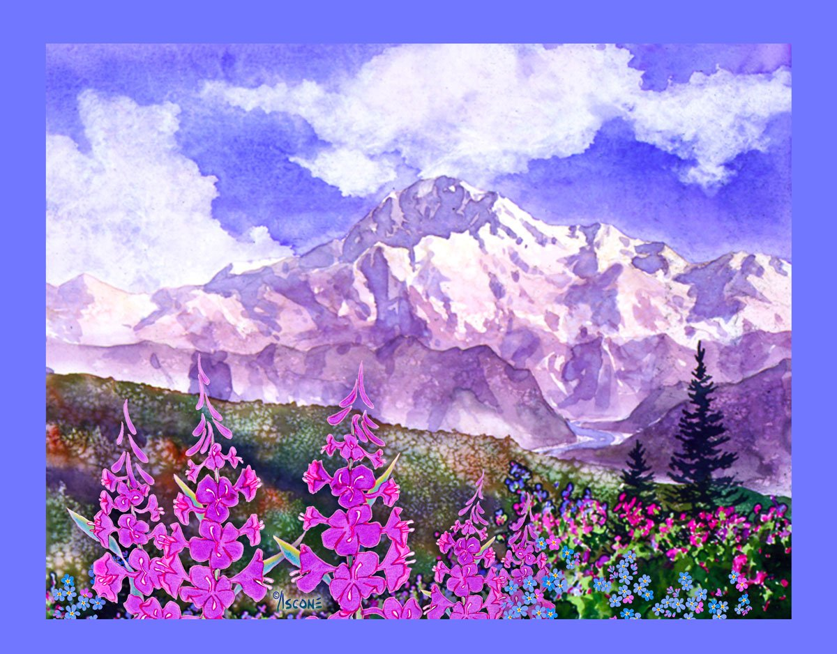Denali with Fireweed Fabric Panel by Teresa Ascone
