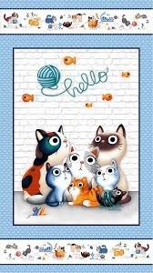 Feline Friends Hello Cats 22 x 44 Panel