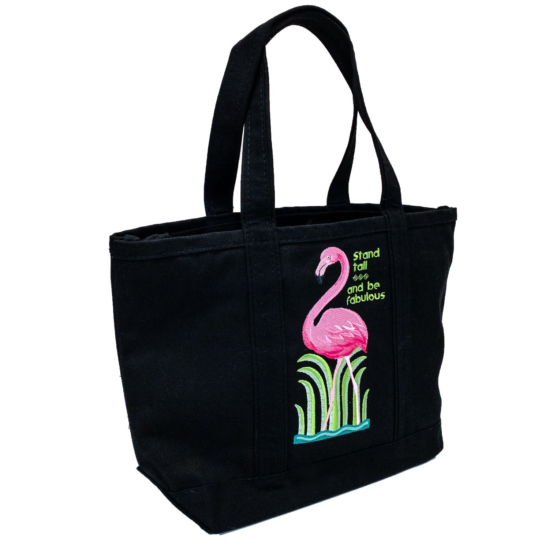 Embroidered Canvas Tote Black Flamingo