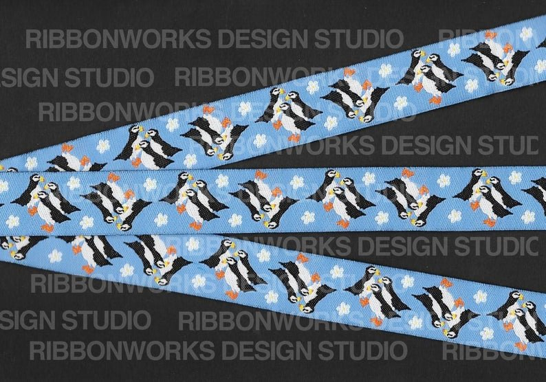 7/8 Woven Trim AK Forget-Me-Not Puffins
