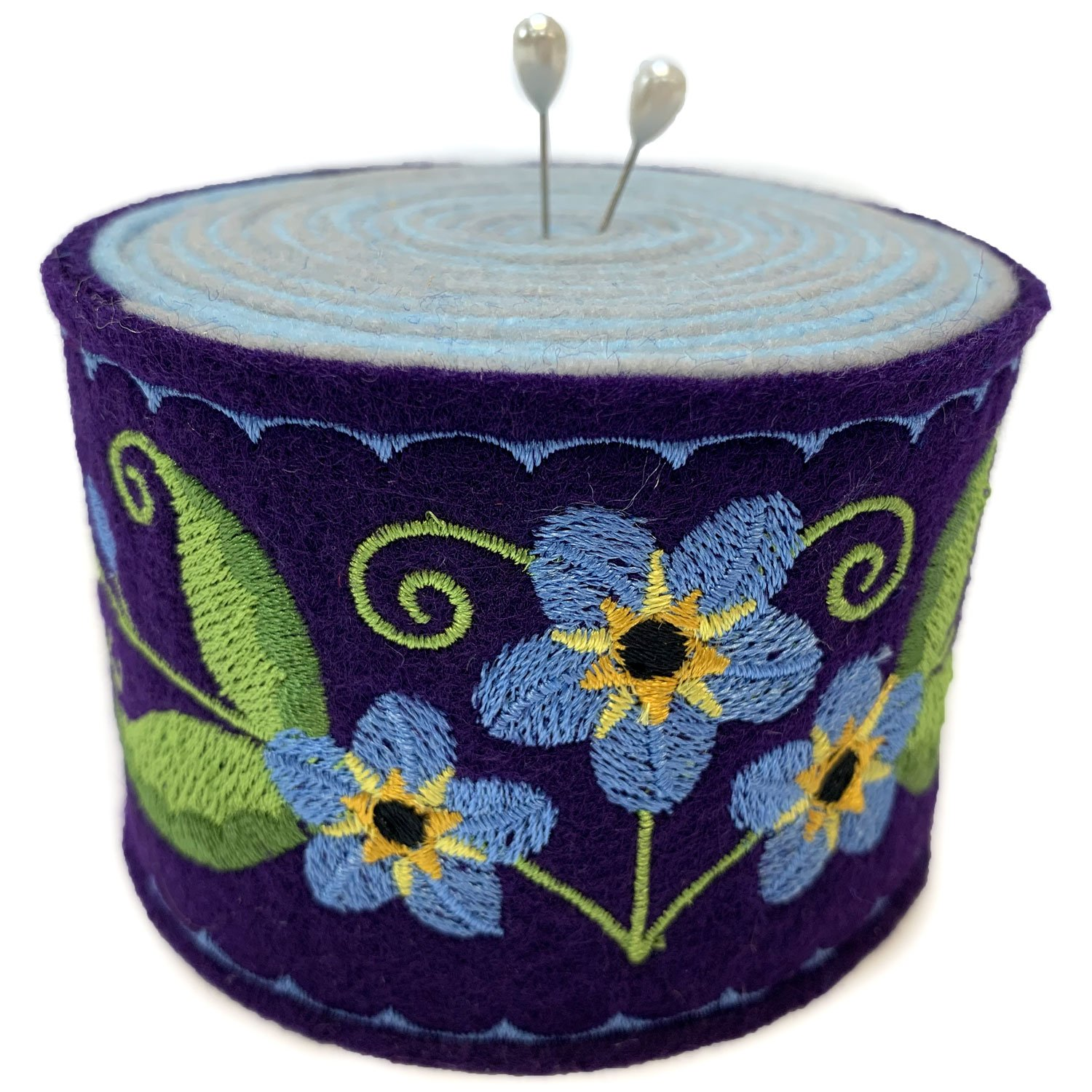 Embroidered Felt Pincushion Forget-Me-Not