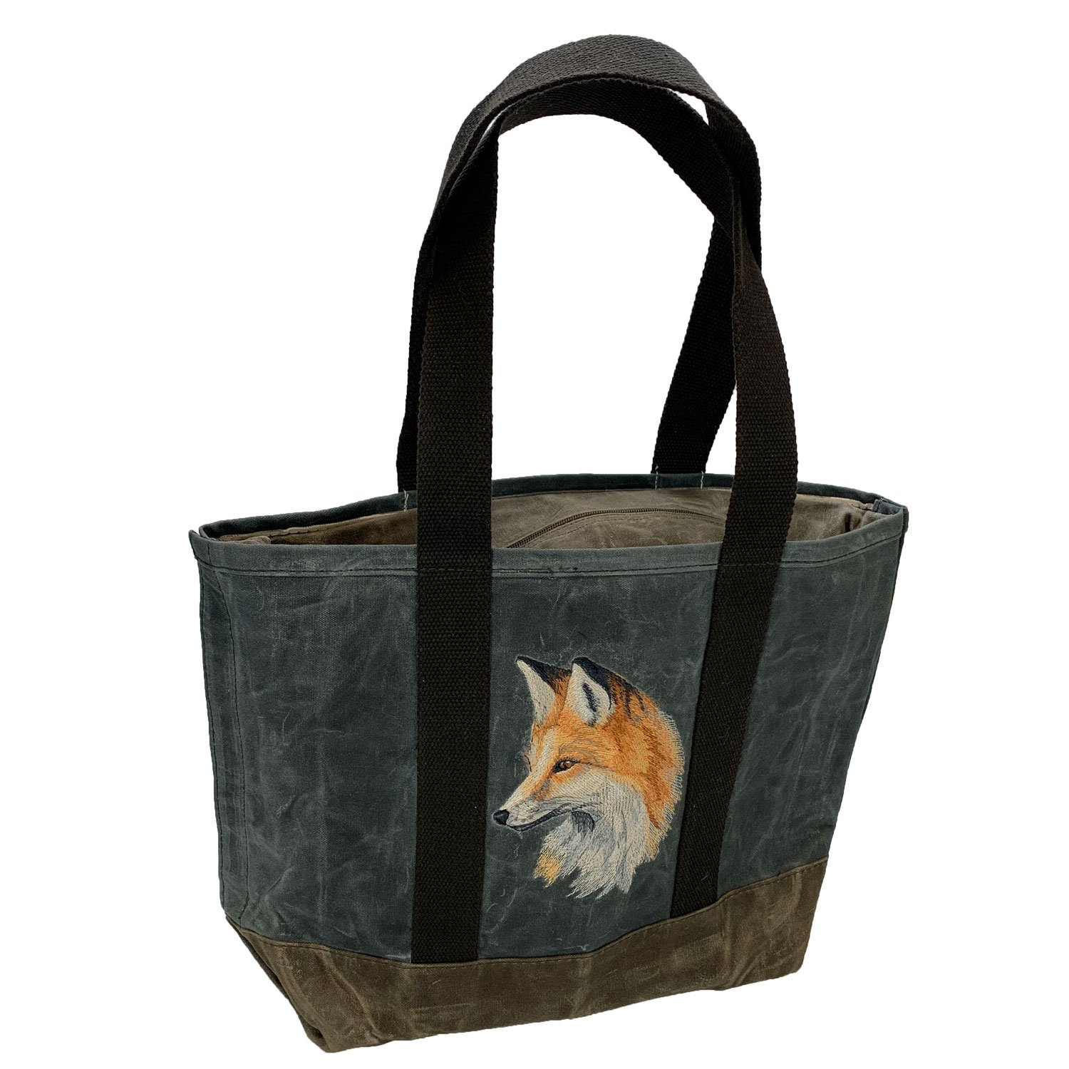 Embroidered Waxed Canvas Tote Fox