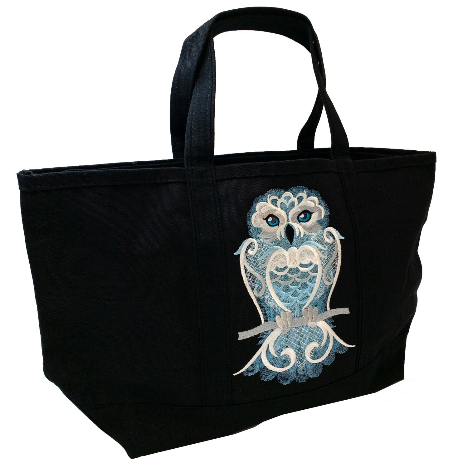 Embroidered Canvas Tote Large Black Frosty Owl