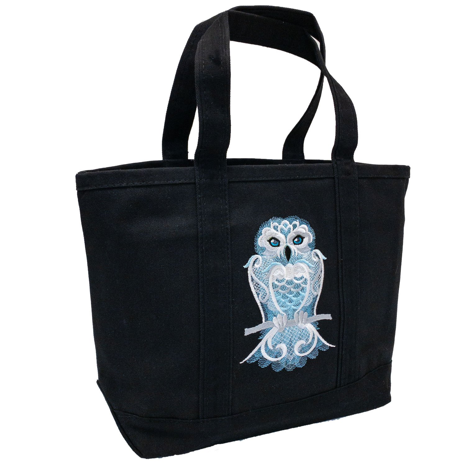 Embroidered Canvas Tote Frosty Owl