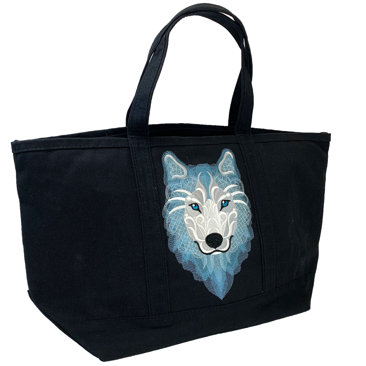 Embroidered Canvas Tote Large Black Frosty Wolf