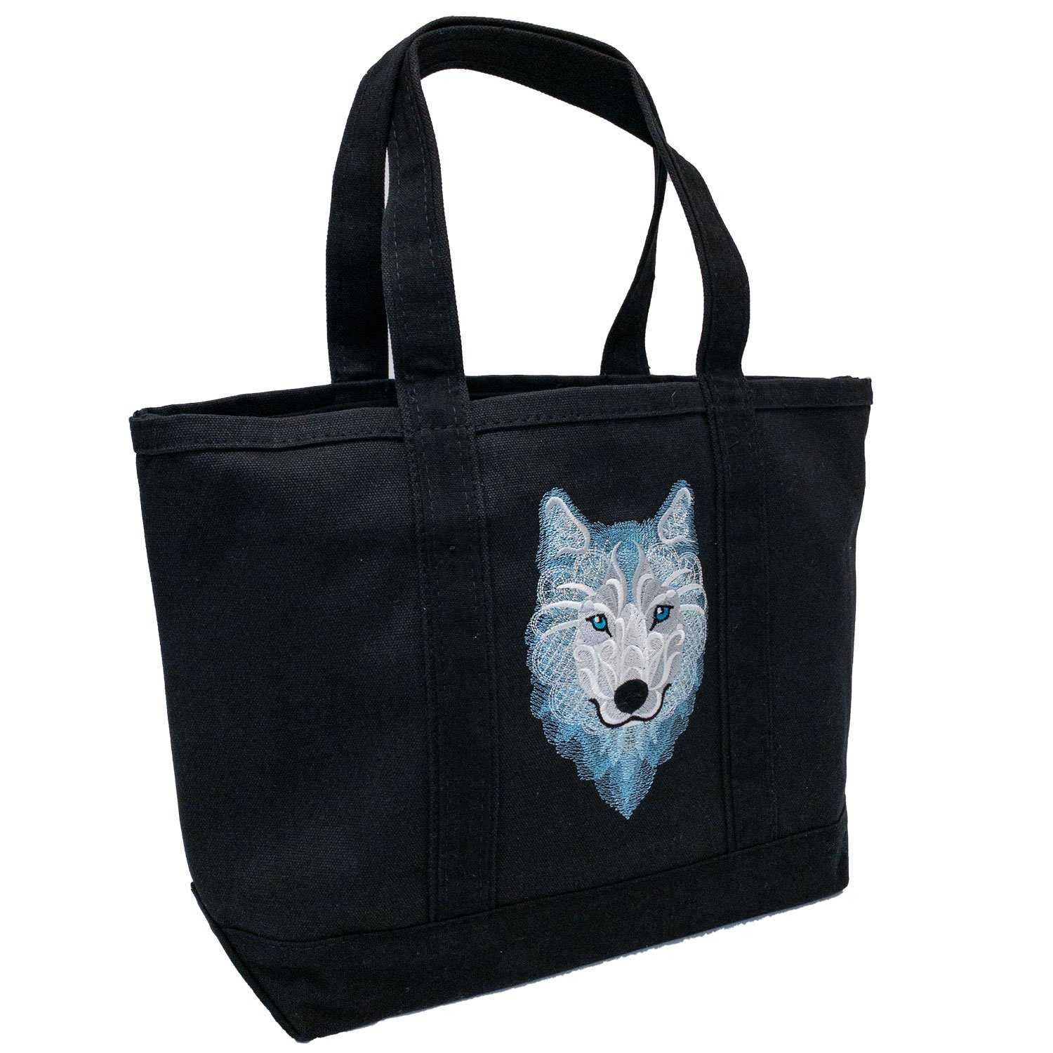 Embroidered Canvas Tote Frosty Wolf