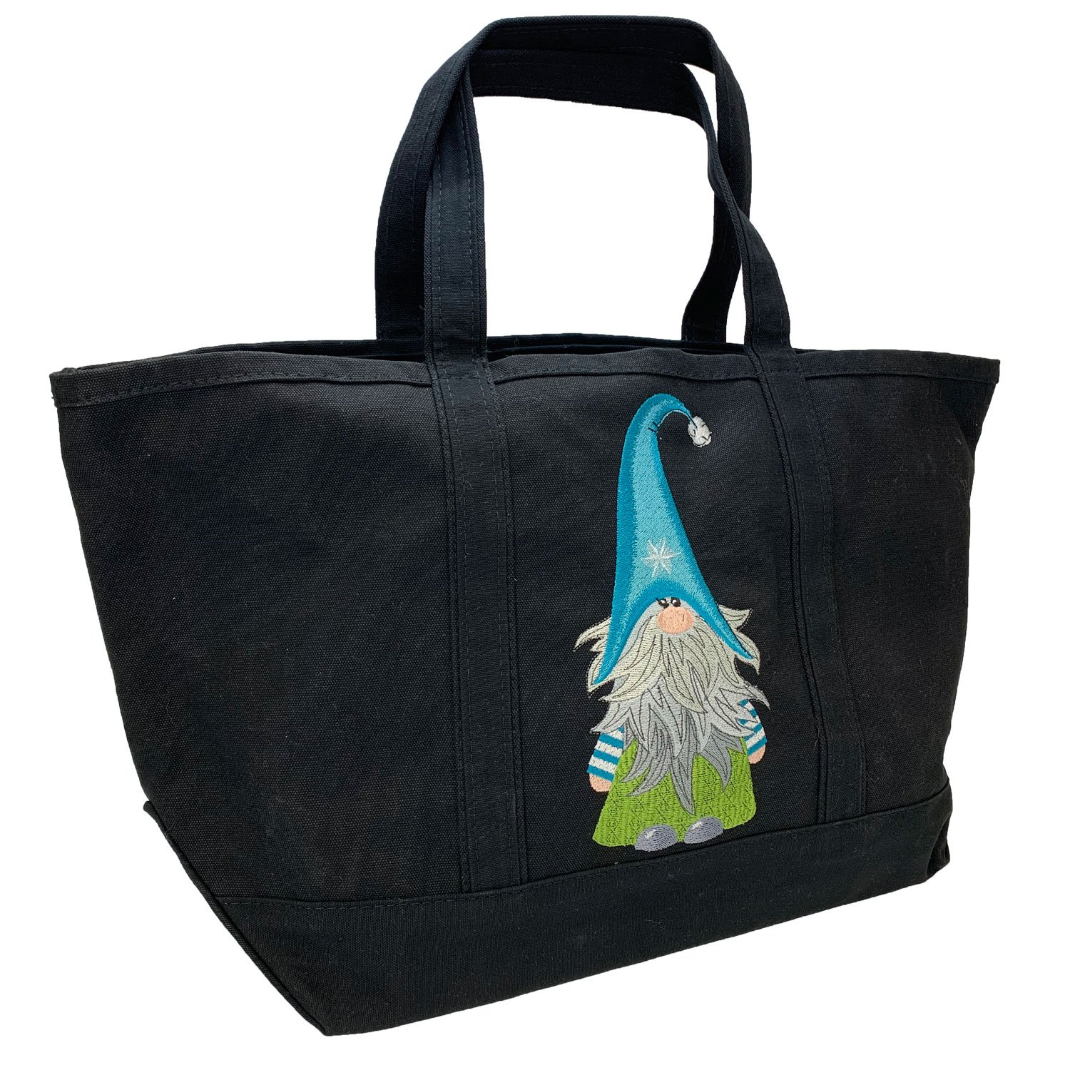 Embroidered Canvas Tote Large Black Gnome