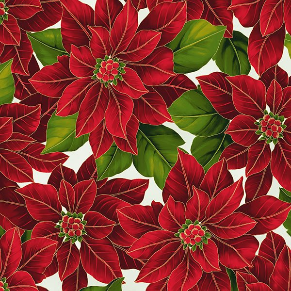 Poinsettia Song Q7634-22G Ivory/Gold