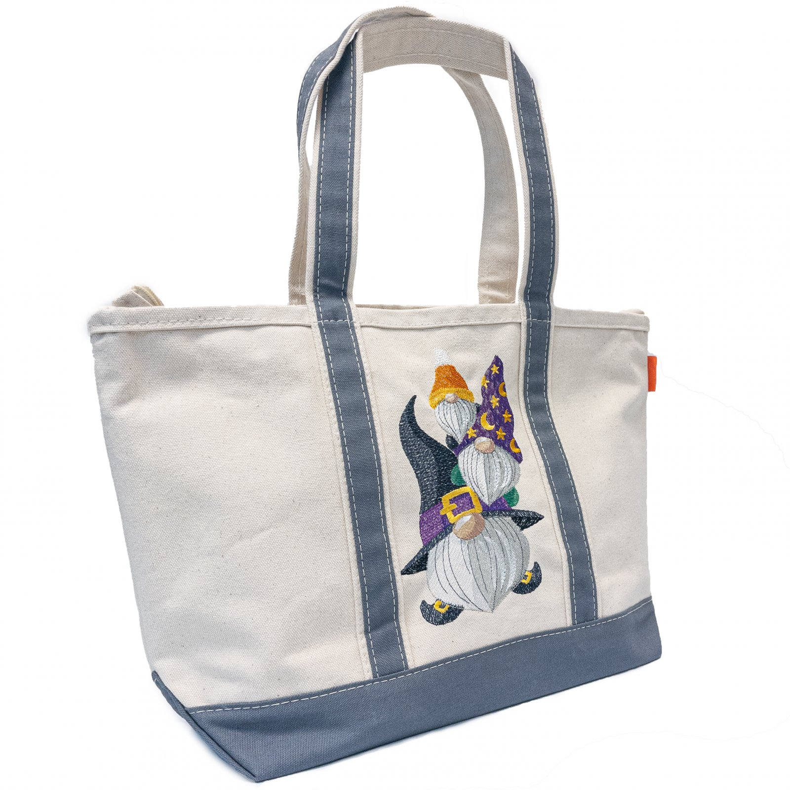 Embroidered Canvas Tote Halloween Gnomes
