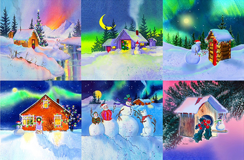 Happy Holidays Mug Rug Set Panel by Teresa Ascone