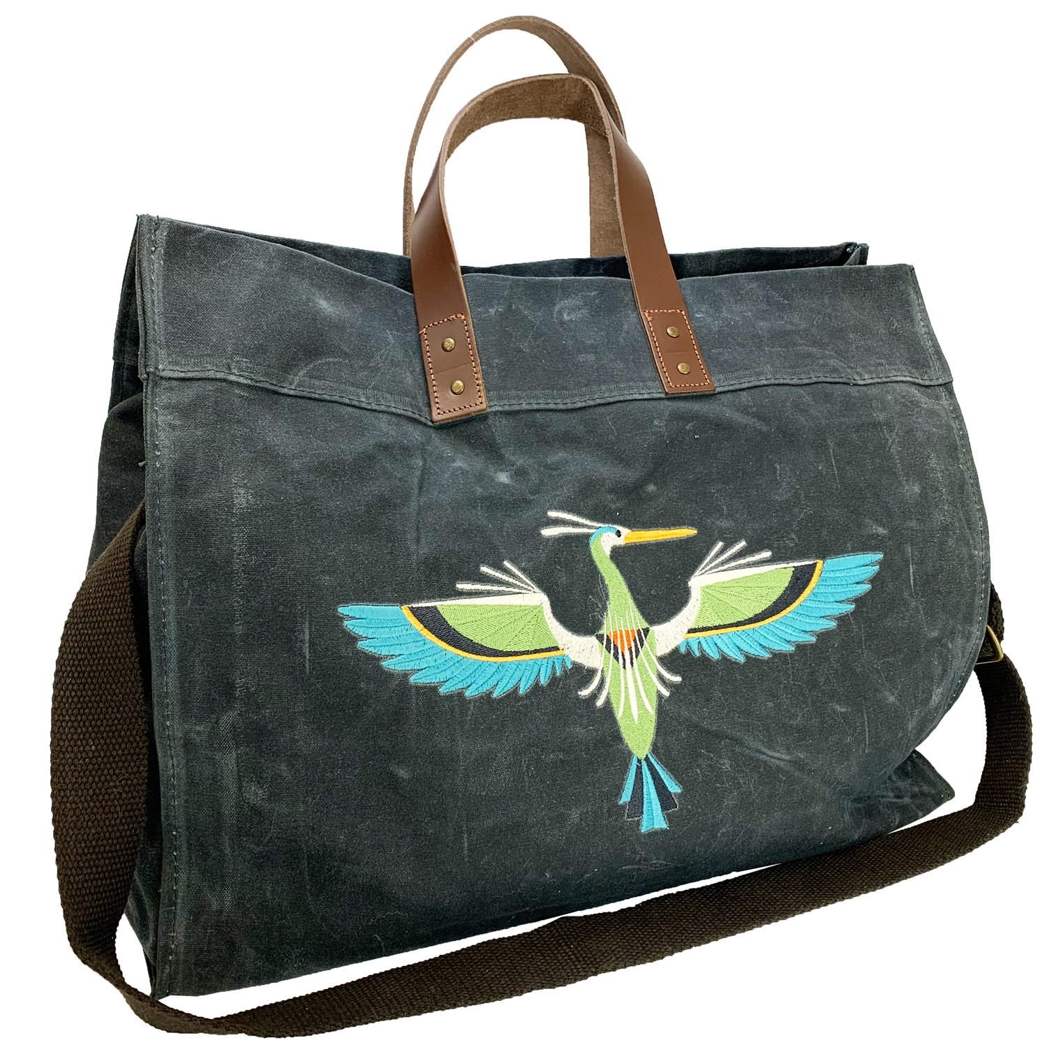 Embroidered Waxed Canvas Utility Tote Slate Heron