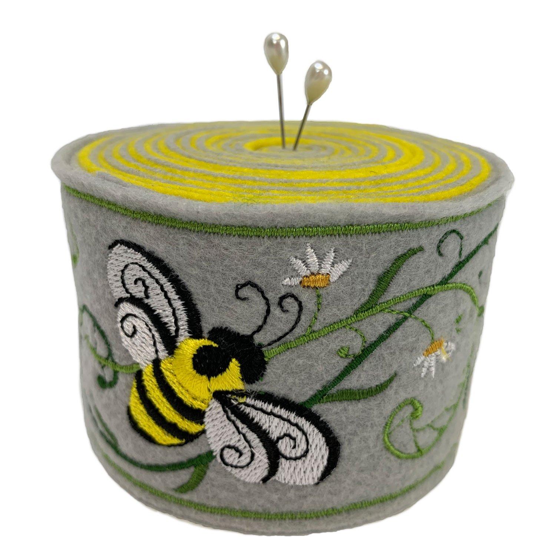 Embroidered Felt Pincushion Honeybee