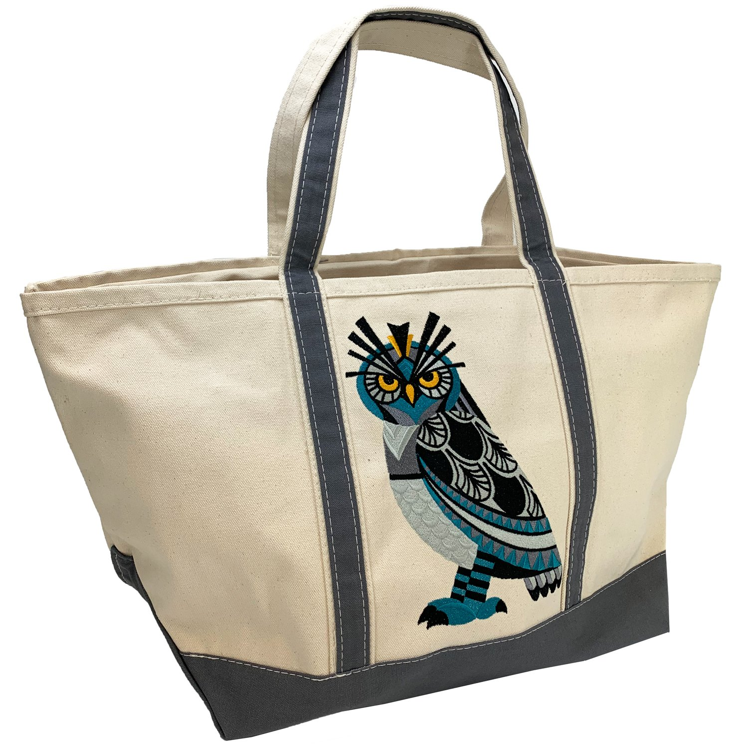 Embroidered Canvas Tote Large Horned Owl