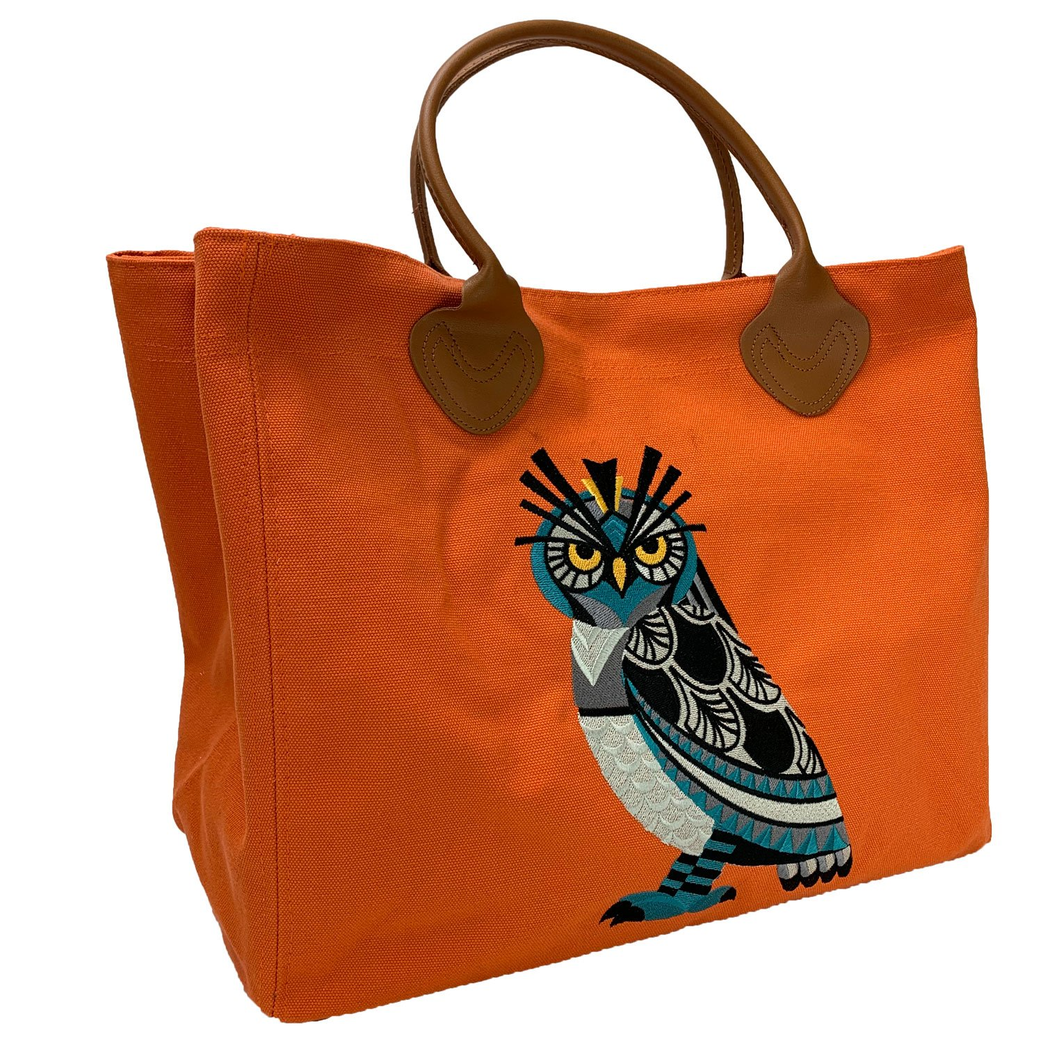 Embroidered Canvas Cargo Tote Orange Horned Owl