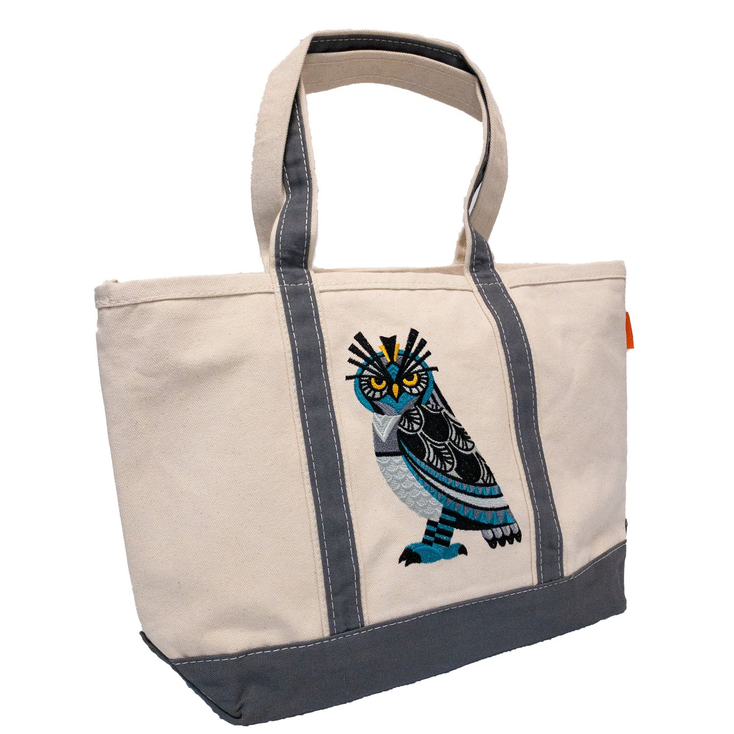 Embroidered Canvas Tote Horned Owl