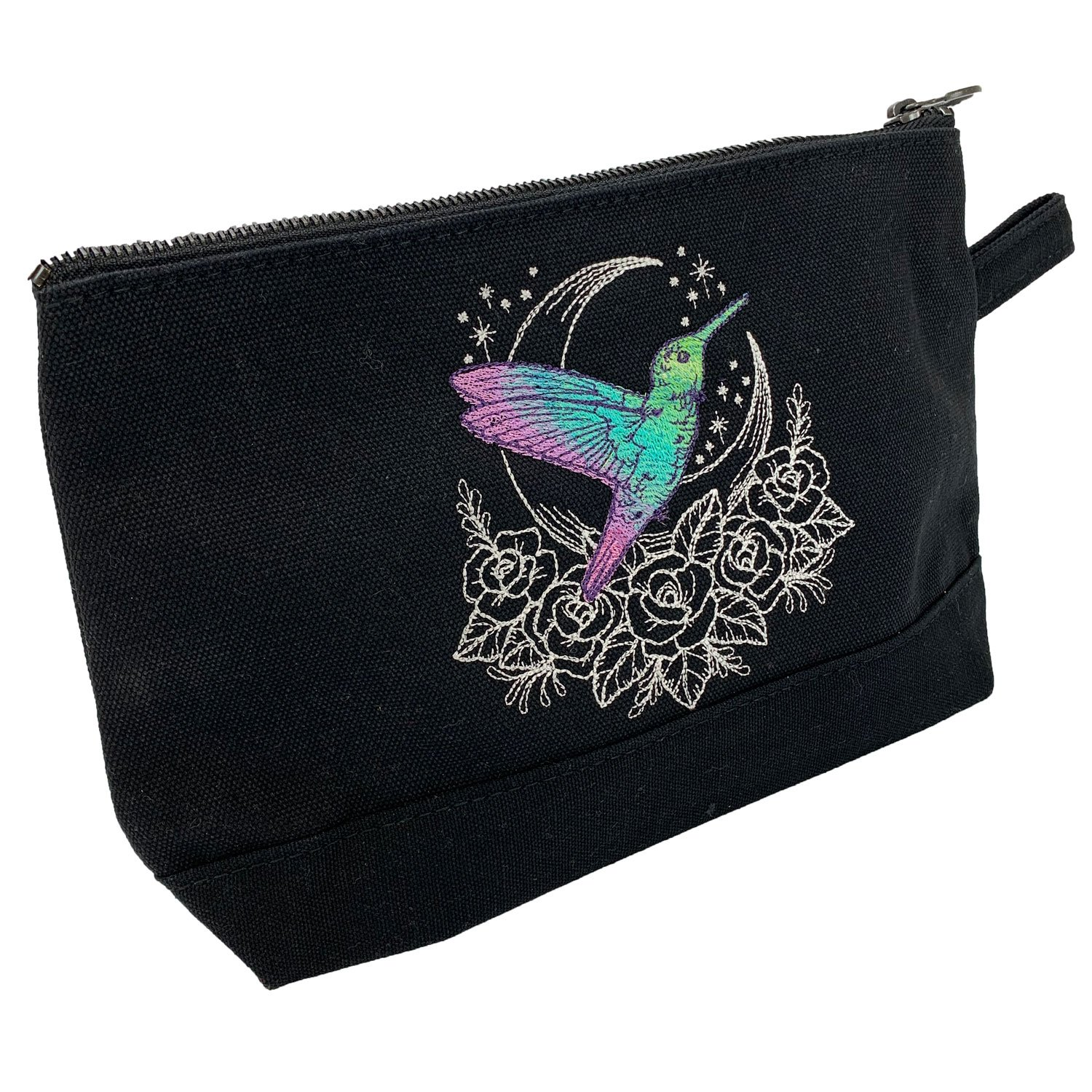 Embroidered Zip Pouch Black Hummingbird