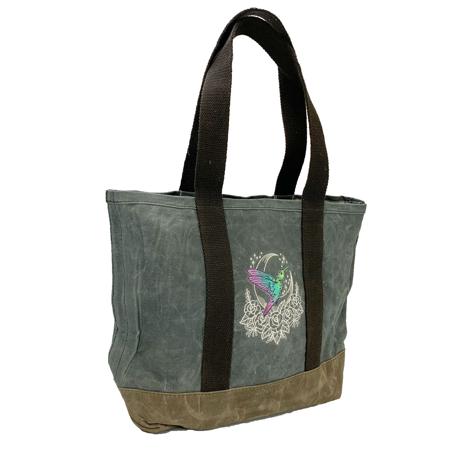 Embroidered Waxed Canvas Tote Hummingbird