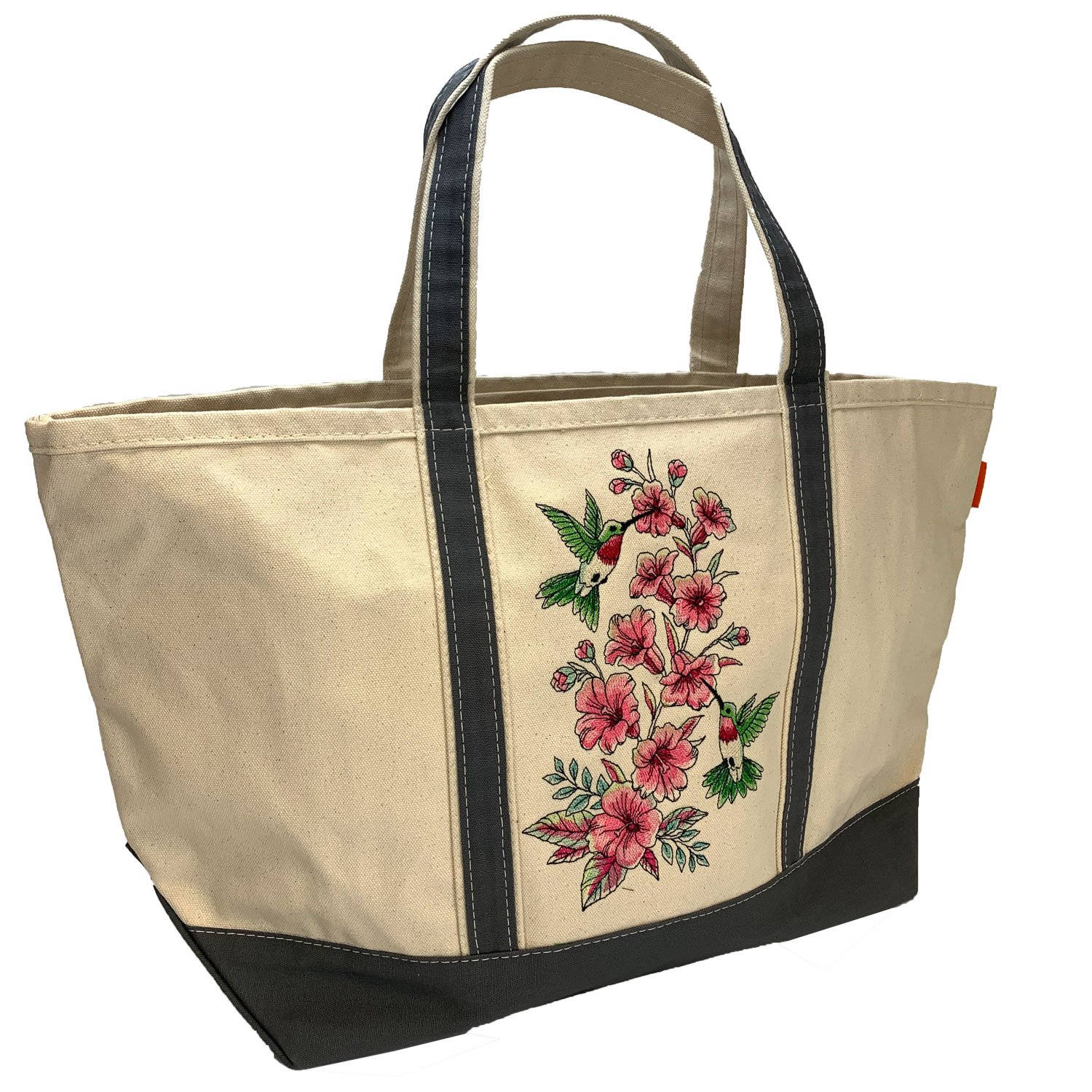 Embroidered Canvas Tote Large Hummingbirds