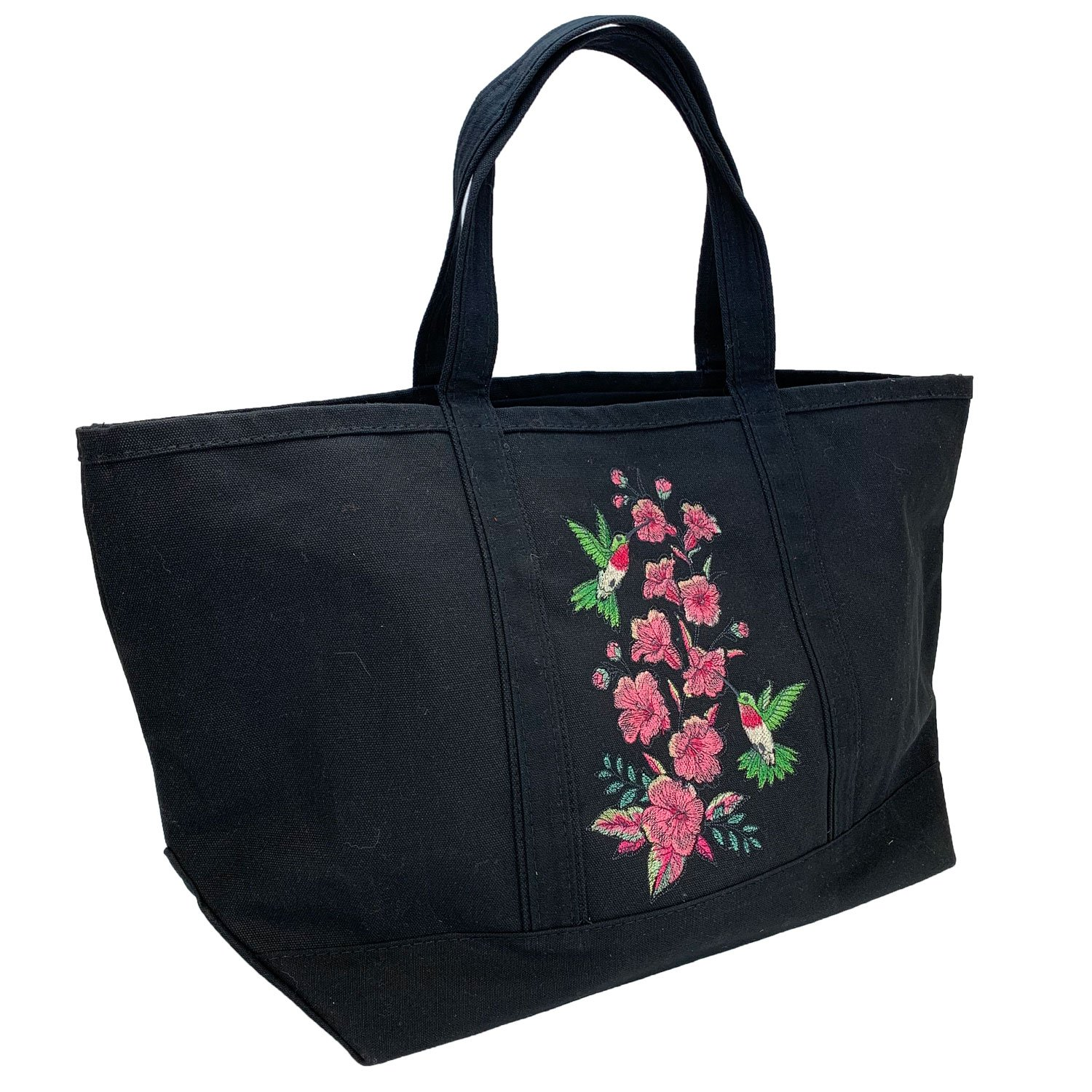 Embroidered Canvas Tote Large Black Hummingbirds