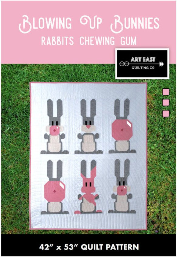 Blowing Up Bunnies- Rabbits Chewing Gum Quilt