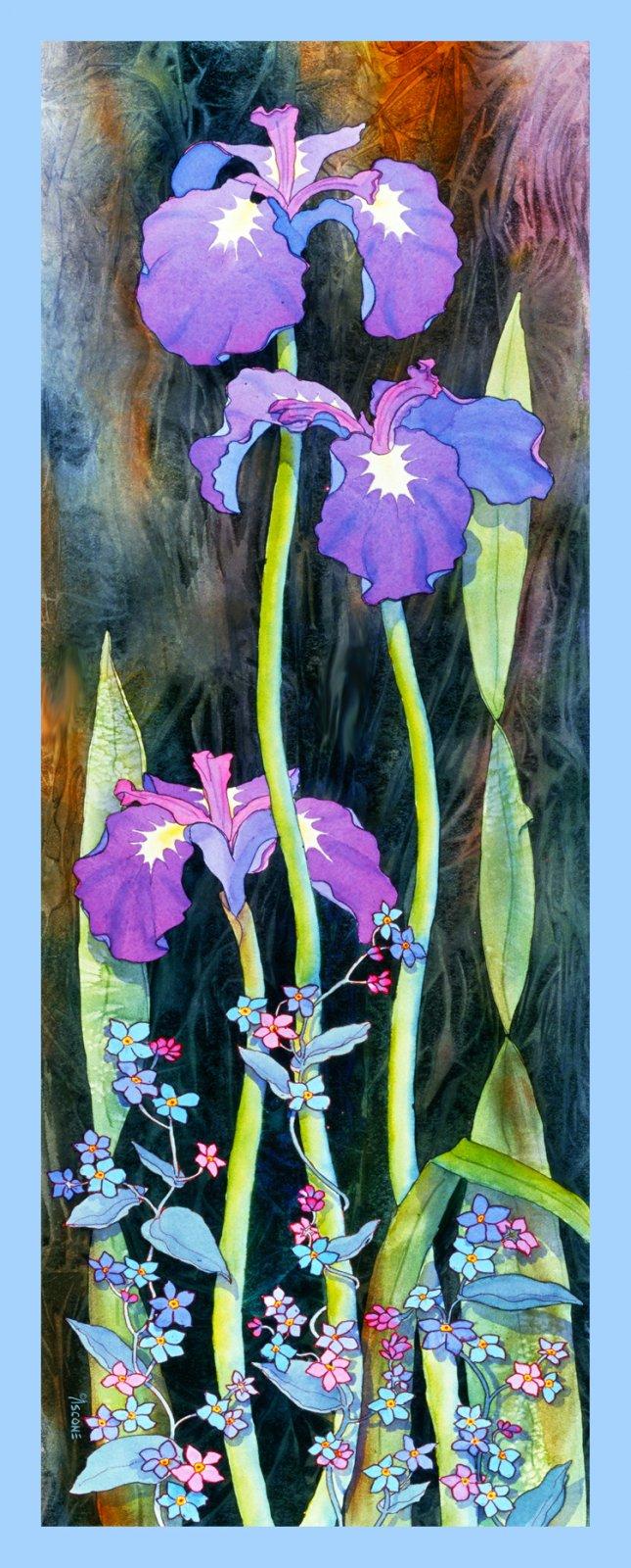 Tall Iris Fabric Panel by Teresa Ascone