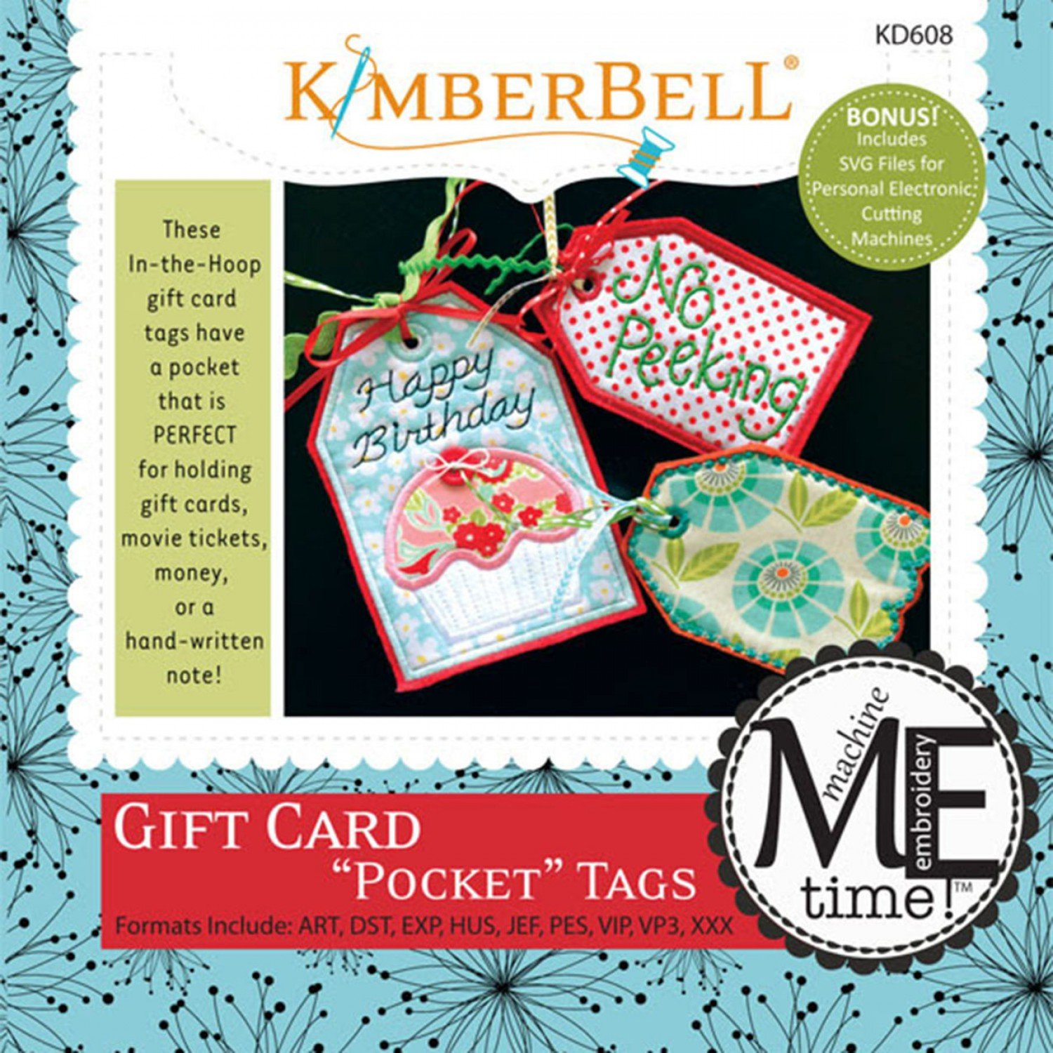 CD Gift Card Pocket Tags Machine Embroidery