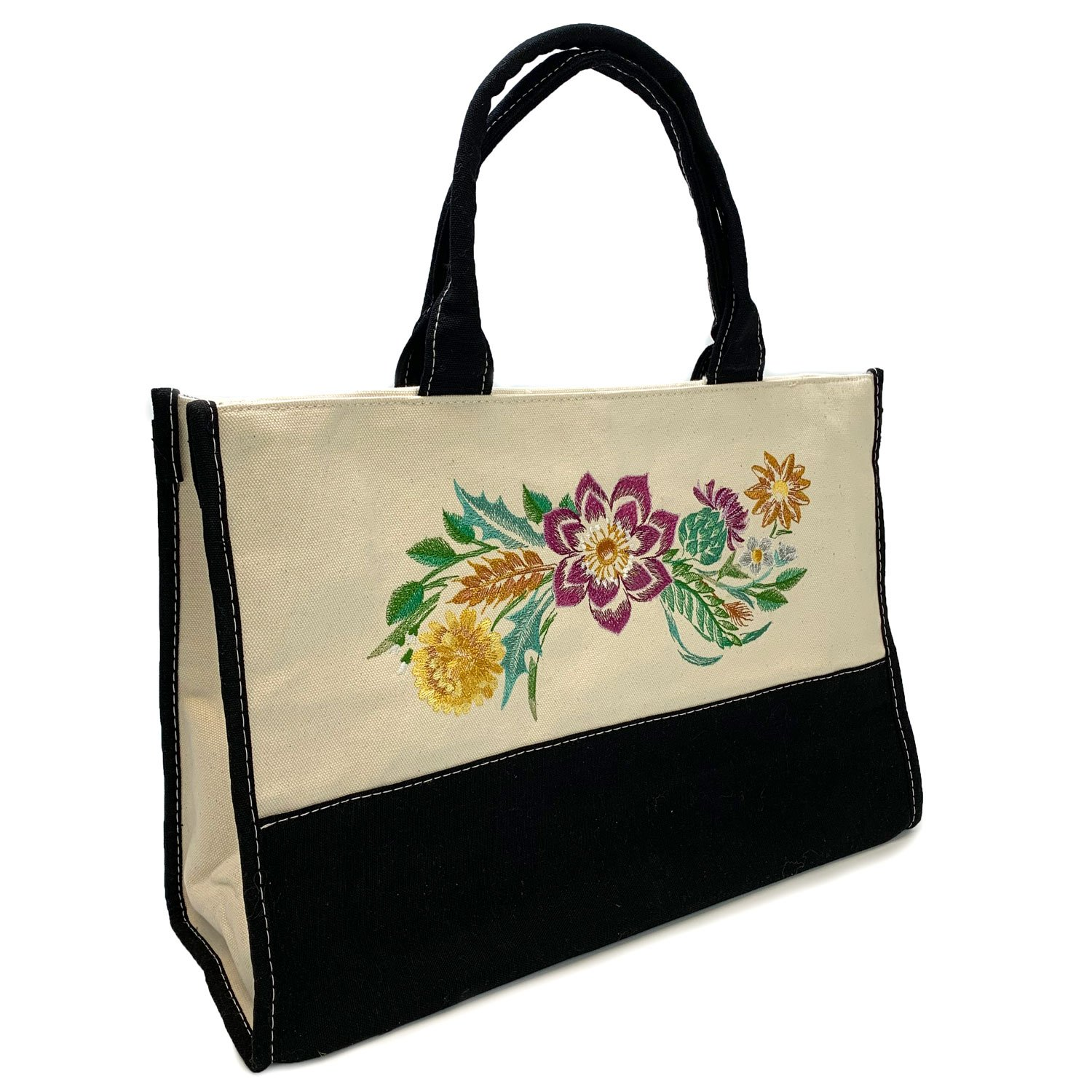 Embroidered Lined Canvas Tote Blooms